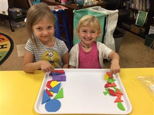 Avery & Natalee sorted their shapes by size.